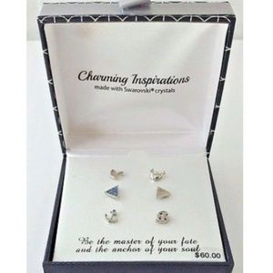 Charming Inspirations Stud Earrings Silver Plated